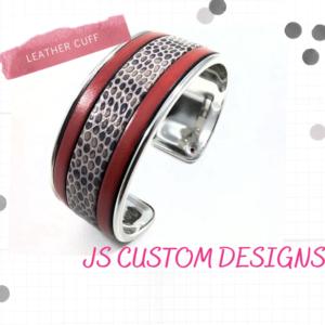 Shop North Dakota Red & Grey Genuine Leather Cuff Bracelet