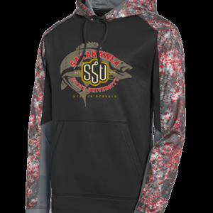 Shop North Dakota Sakakawea State University Hoodie -Camo Sleeves