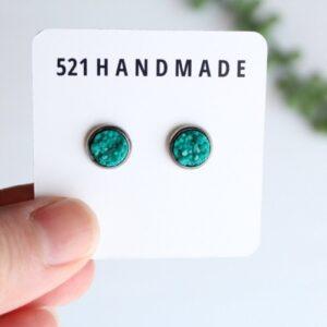Shop North Dakota 8mm Turquoise Druzy Stud (choose your setting)