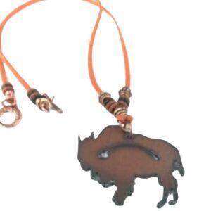 Shop North Dakota Rustic Metal Bison Pendant on Orange Suede Leather