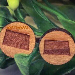 Shop North Dakota Wooden Stud Earrings