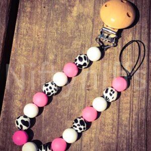Shop North Dakota Cheetah & Light Pink Pacifier Clip