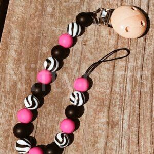 Shop North Dakota Hot Pink Zebra Pacifier Clip