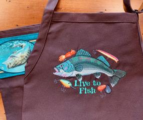 Shop North Dakota Live to Fish Apron