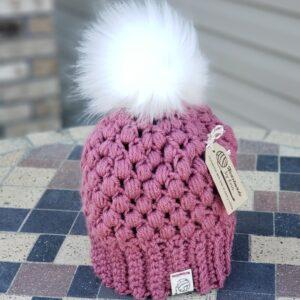 Shop North Dakota Dusty Rose & White Baby Hat