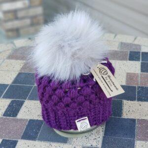 Shop North Dakota Eggplant Purple with Light Grey Baby Hat