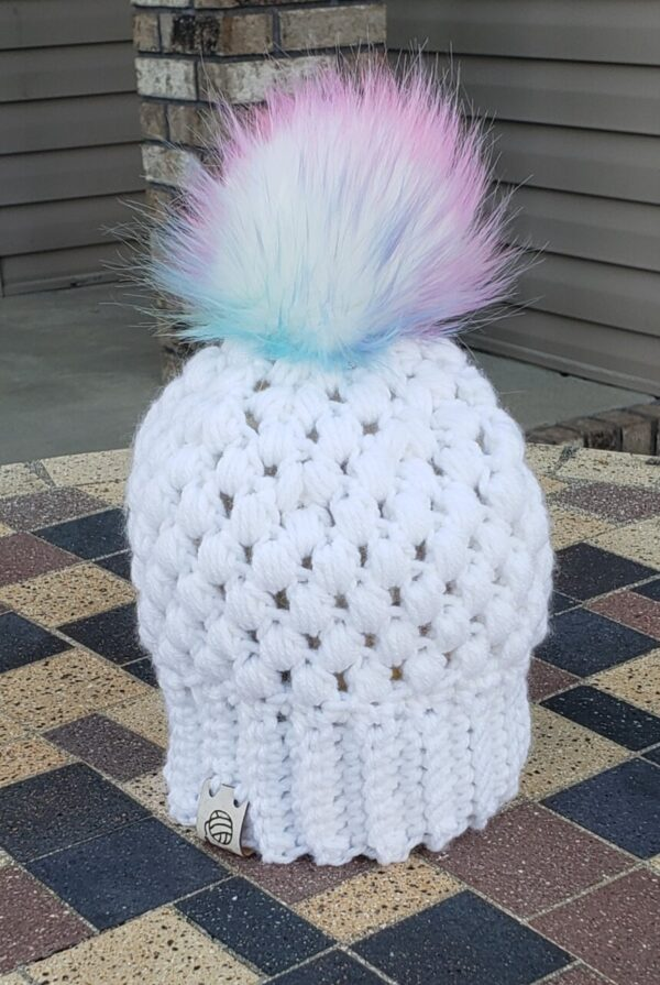 Shop North Dakota White baby hat with colored poof ball 3-6 month size