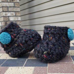 Shop North Dakota Black/dark grey baby booties with teal buttons 6-9 months