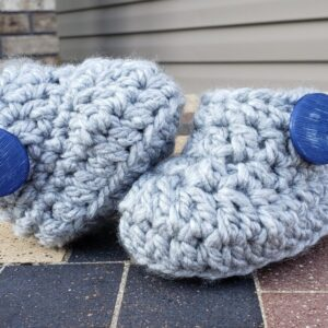 Shop North Dakota Light grey baby booties with blue button 3-6 months old