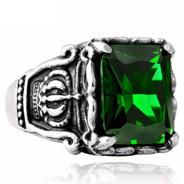 Shop North Dakota Mens 316L Solid Stainless steel Crown green stone ring